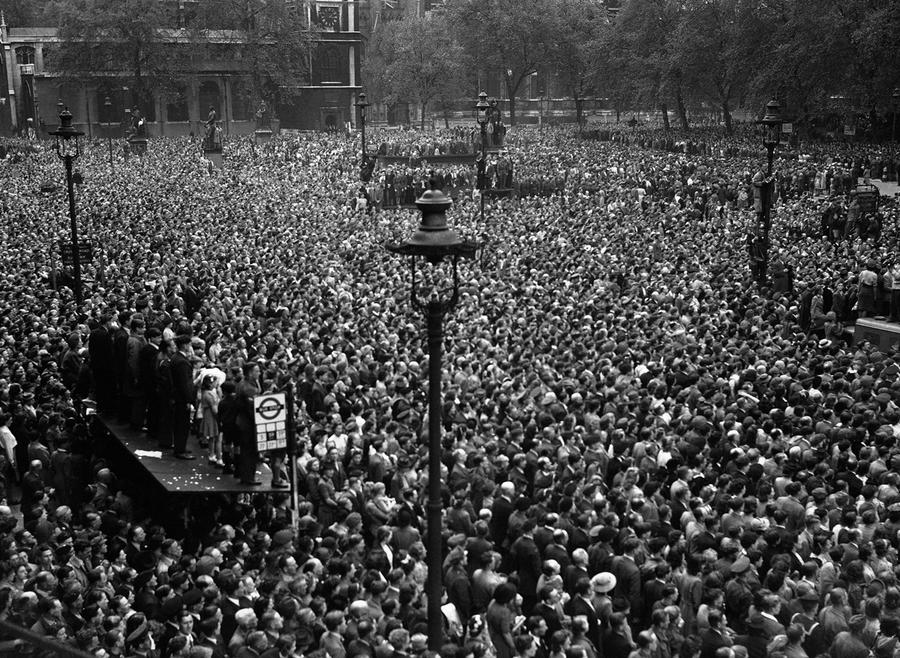 a seething mass of humanity jammed itself into whitehall in central london on veday victory in europe day may 8 to hear the premier officially