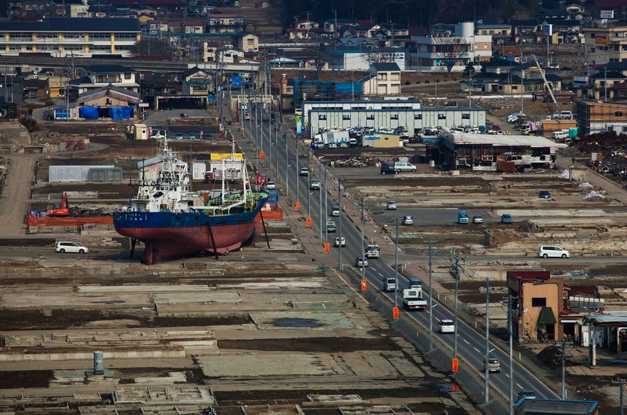 Japan Earthquake One Year Later  The Atlantic In The Before Image A Ship Washed Away By The Tsunami Sits In A  Destroyed Residential Neighborhood In Kesennuma Northeastern Japan On  March