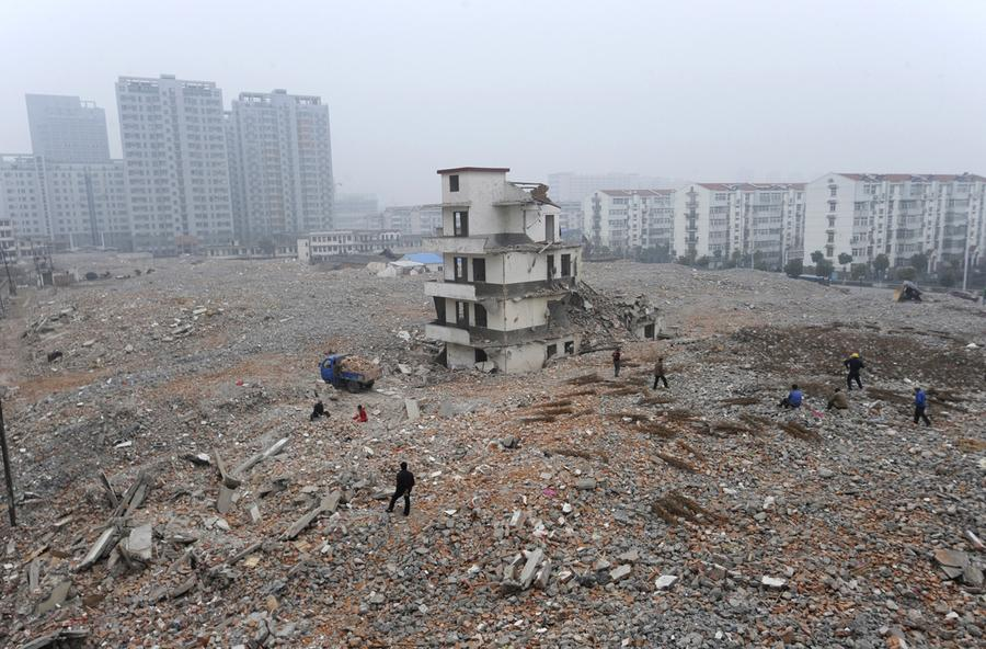A Partially Demolished Nail House The Last In Area At Construction Site Hefei Anhui Province On February 2 2010