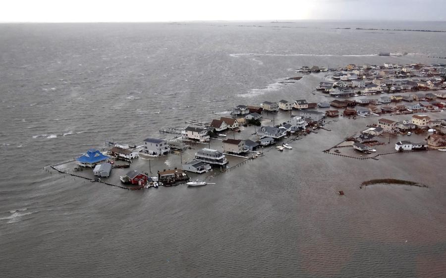 Homes, flooded after Hurricane Sandy made landfall on the southern New Jersey coastline, on October 30, 2012 in Tuckerton, New Jersey. #