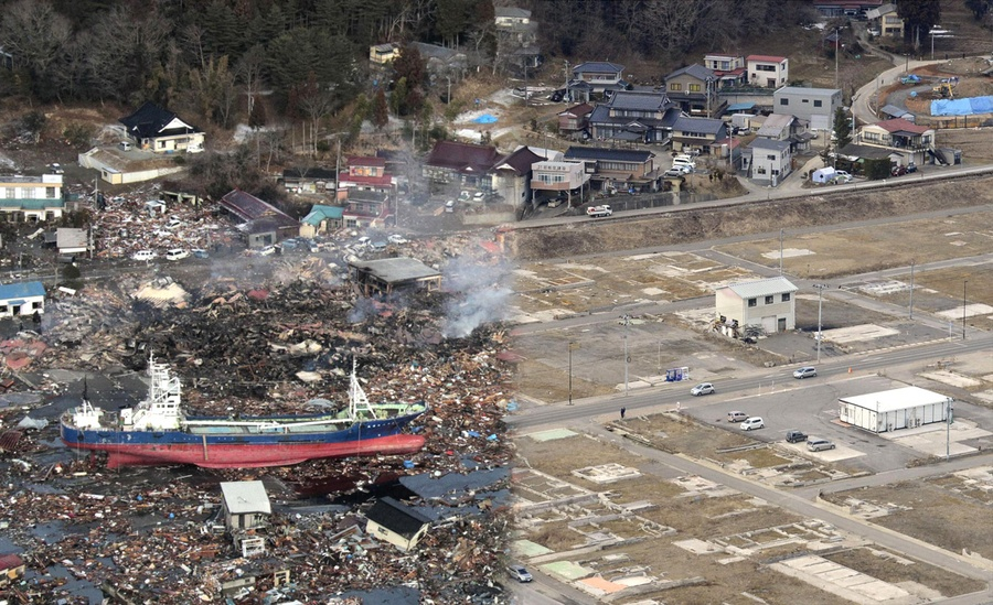 earthquake years later before and after the atlantic the tsunami devastated kesennuma in miyagi prefecture is pictured in this side by side comparison photo taken 12 2011 left and 4