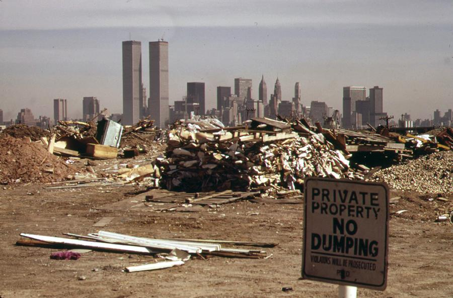 Despite warning signs, illegal dumping continues in this area just off the  New Jersey Turnpike facing Manhattan in March of 1973. See this same spot,  ...