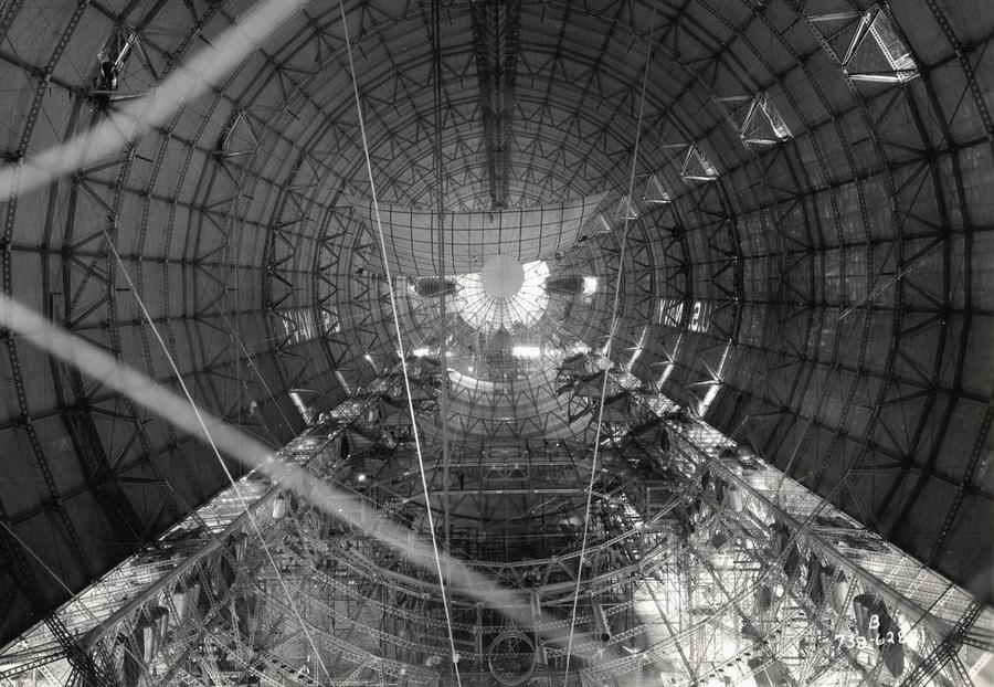 Interior Hull Of A U.S. Navy Dirigible Before Gas Cells Were Installed, Ca.  1933. #