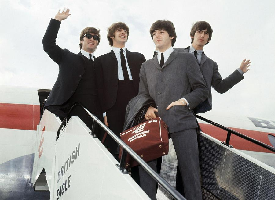 The Beatles Leave London Airport In 1964 From Left John Lennon Ringo Starr Paul McCartney And George Harrison Enthusiastic Fans Welcomed