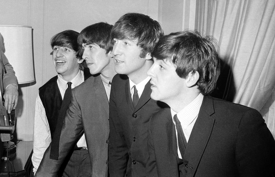 The Beatles From Left Ringo Starr George Harrison John Lennon And Paul McCartney In Their New York Hotel After Arrival US On February 7
