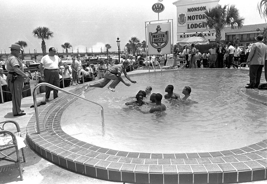 1 Of 2 When A Group White And Black Integrationists Refused To Leave Motel Swimming Pool In St Augustine Florida This Man Dove Cleared Them