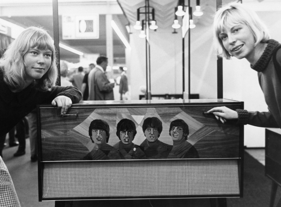 With A Radio Console Which Features Pictures Of The Beatles On Display At And Television Fair In Stuttgart Germany September 1 1965