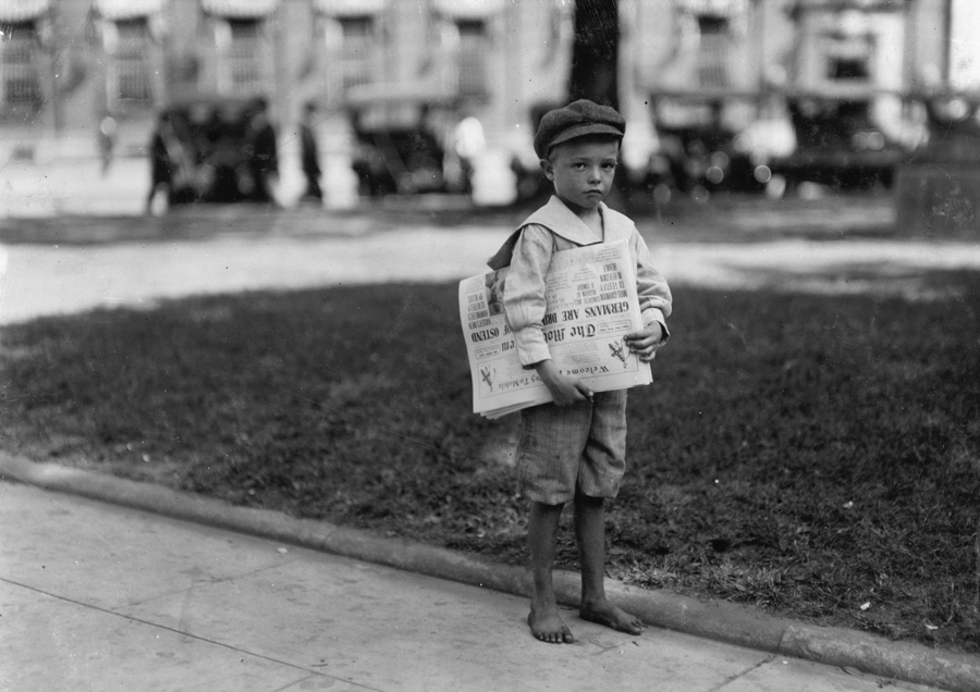 7 year old year old ferris a small newsboy or newsie who did not know enough to make change photographed in mobile alabama in october of 1914