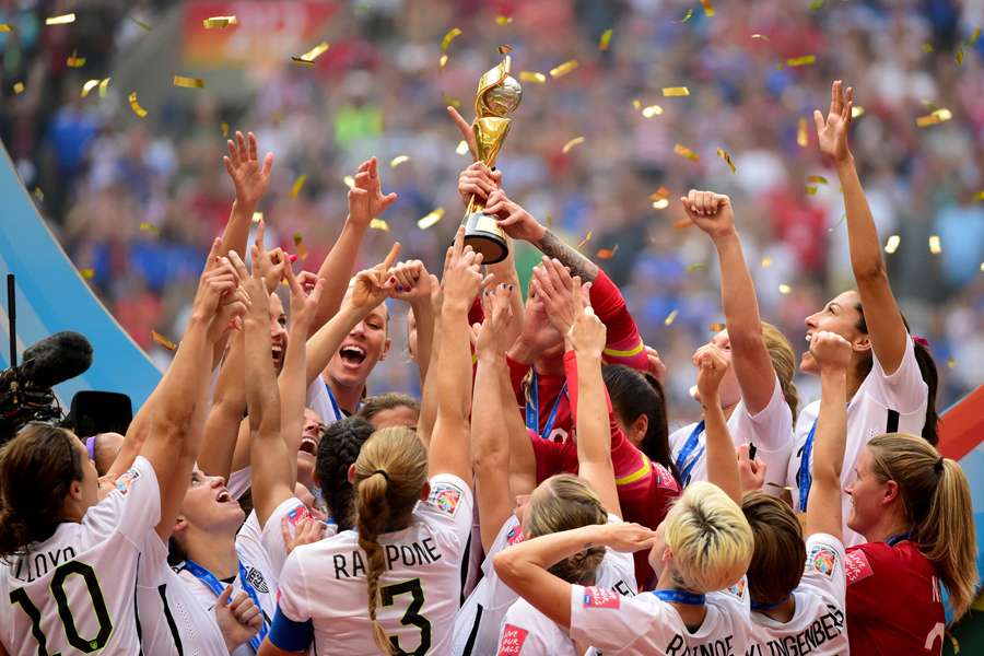 Usa wins the 2015 womens world cup the atlantic united states players react as they receive the fifa womens world cup trophy after defeating japan in the final of the 2015 womens world cup at bc place gumiabroncs Images