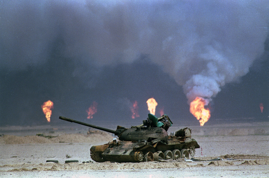 operation desert storm years since the first gulf war the  a destroyed i tank rests near a series of oil well fires during the gulf war on 9 1991 in northern