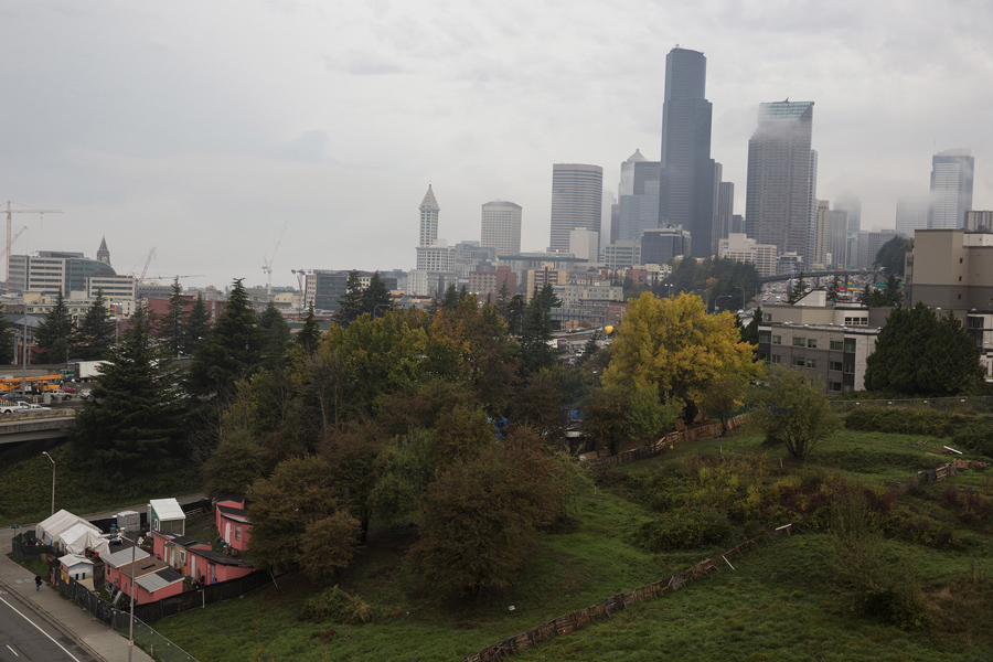 A general view of the unsanctioned homeless tent enc&ment Nickelsville (lower left) in Seattle Washington on October 8 2015. # & Americau0027s Tent Cities for the Homeless - The Atlantic