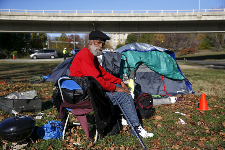 In Washington D.C. Owen Makel 65 who has been homeless for nearly 14 years and has lived at this c& for four months sits by his tent between the ... & Americau0027s Tent Cities for the Homeless - The Atlantic