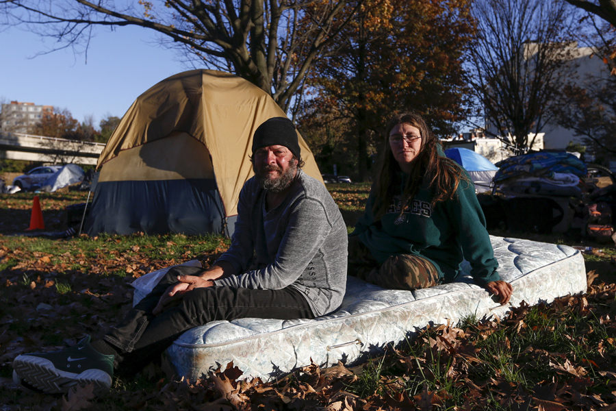 Clyde Burgit and his wife Helen who had been at this c& for two weeks sit on a mattress near their tent by the Watergate and Whitehurst Freeway in ... & Americau0027s Tent Cities for the Homeless - The Atlantic
