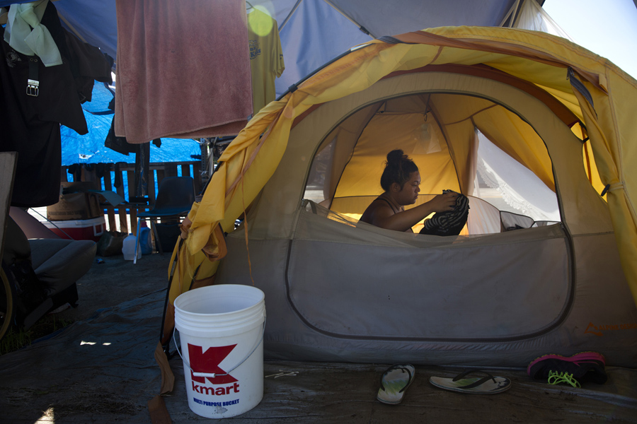 Deja-Lynn Rombawa-Quarles a 24-year-old woman who works part time at an elementary school as a group leader sits in her tent at a homeless enc&ment in ... & Americau0027s Tent Cities for the Homeless - The Atlantic