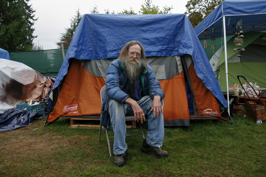 Lantz Rowland 59 poses in front of his tent at SHARE/WHEEL Tent City 3 near Seattle on October 8 2015. u201cHomeless people arenu0027t drunken bums with needles ...  sc 1 st  The Atlantic & Americau0027s Tent Cities for the Homeless - The Atlantic