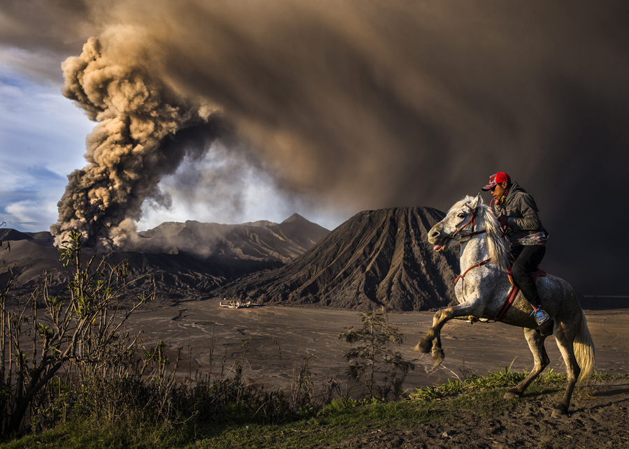 This Picture Was Taken During Mt Bromo Eruption The Horse Seems A Little Agitated Due To Sound Of