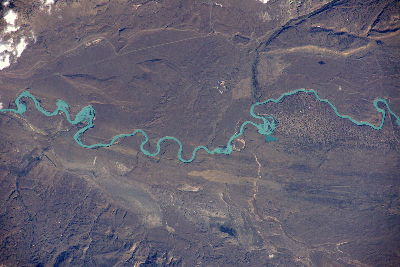 Glacial river water flowing from this Patagonian ice field; Rio Santa Cruz, flowing into Lago Argentina; Tim Peake - ESA - NASA [1500 x 1000]