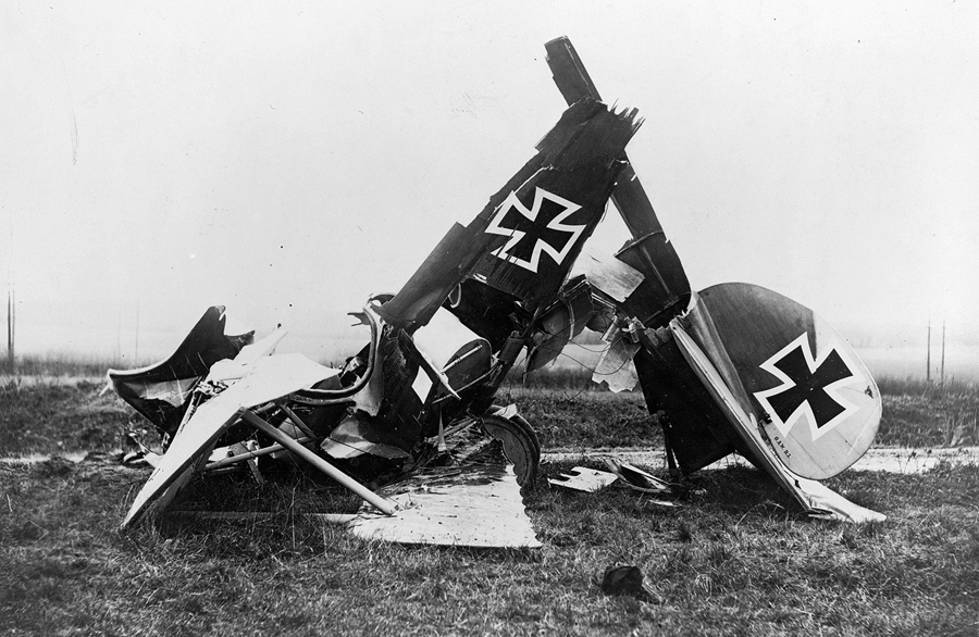 Wreckage Of A German Albatross D III Fighter Biplane