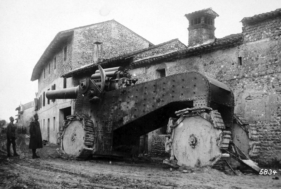 The Heedless Flight Of The Italians To The Tagliamento Captured Heavy And Gigantic Cannon In A Village Behind Udine November