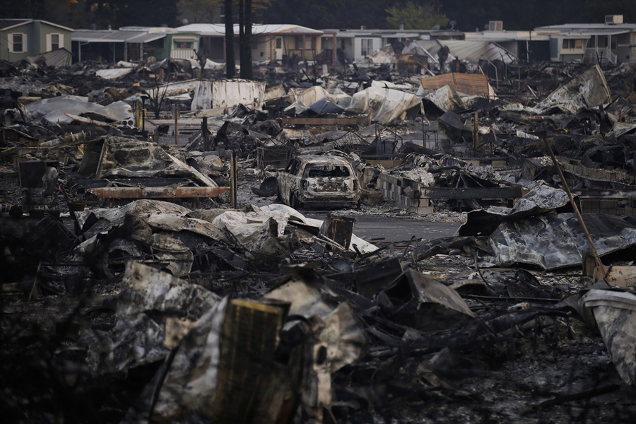 A Mobile Home Park Devastated By Wildfire Is Seen In Santa Rosa On October 13 2017