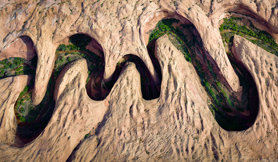 Meandering Canyon People S Choice Aerial Green Vegetation Blooms At The River Edge Or Riparian Zone Of A In Utah