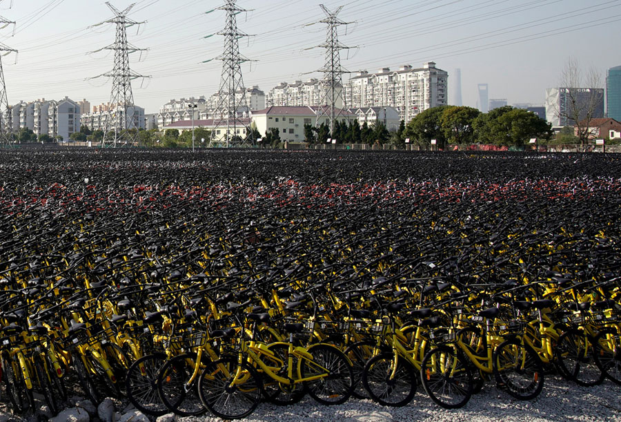 Bike Share Oversupply in China: Huge Piles of Abandoned and