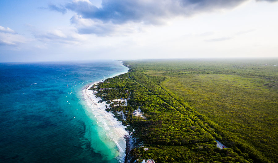 Aerial View Of Tulum S Beach And Jungle