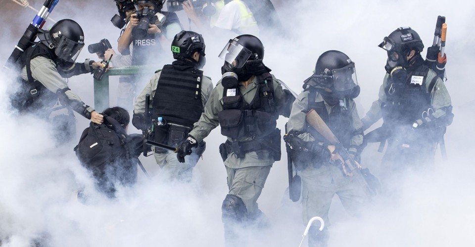 Photos: Hong Kong Riot Police Lay Siege to University Occupied by Protesters