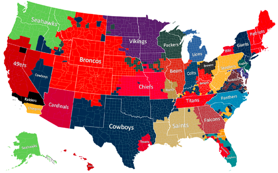 Picture Of Map Of America.The Geography Of Nfl Fandom The Atlantic
