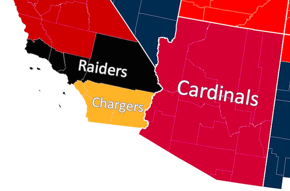 Professional Sports Teams By State Map.The Geography Of Nfl Fandom The Atlantic