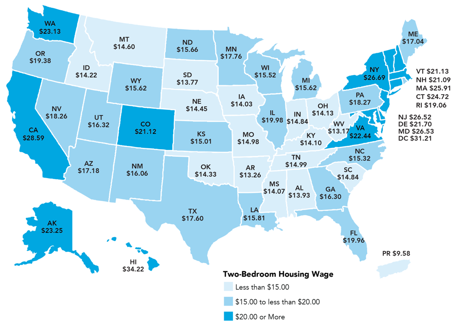 The Hourly Wage Needed To Rent A Bedroom Apartment In The Us