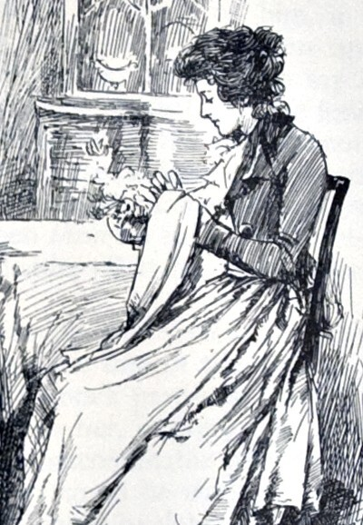 Elinor Dashwood sits sewing in an 1899 illustration
