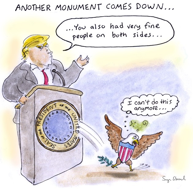 Another monument comes down: In a cartoon, the American eagle leaps off Trump's podium in response to his remarks on Charlottesville.