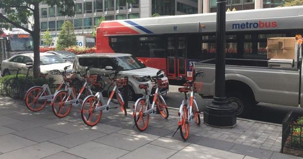 Mobike bikes are pictured.