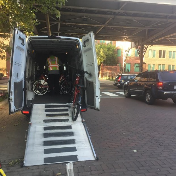 Capital Bikeshares are pictured in a van.