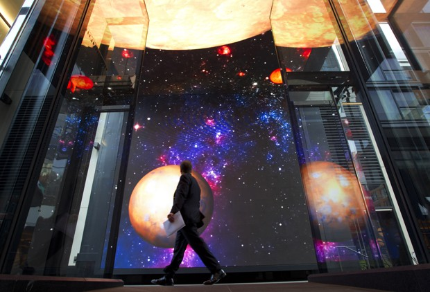A picture of planets and stars is pictured at City Center.