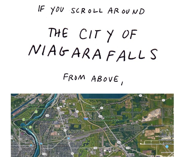 If you scroll around the city of Niagara Falls from above,