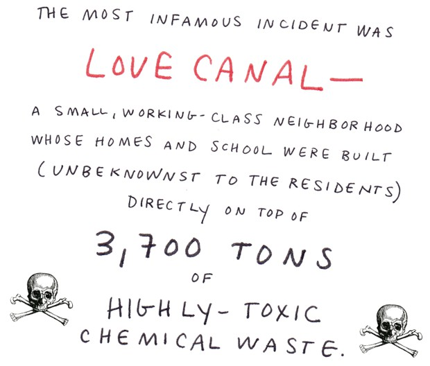 The most infamous incident was Love Canal -  a small, working-class neighborhood whose homes and school were built (unbeknownst to the residents) directly on top of 3,700 tons of highly-toxic chemical waste.
