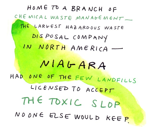 Home to a branch of chemical waste management - the largest hazardous waste disposal company in North America - Niagara had one of the few landfills licensed to accept the toxic slop no one else would keep.