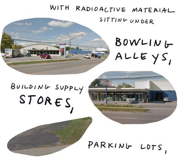 With radioactive material sitting under bowling alleys, building supply stores, parking lots,