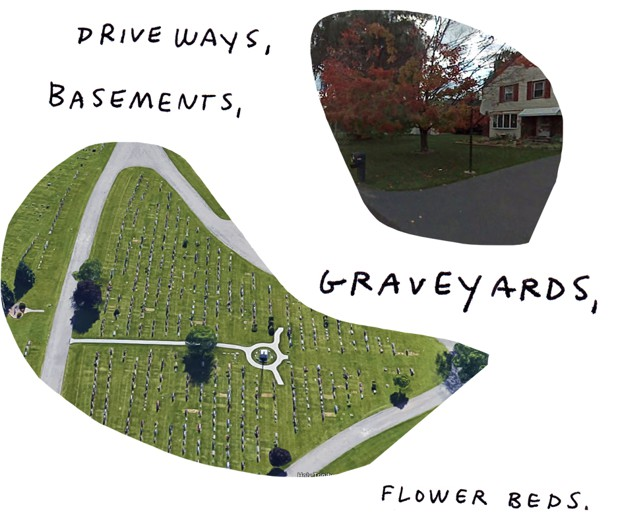 driveways, basements, graveyards, flower beds.