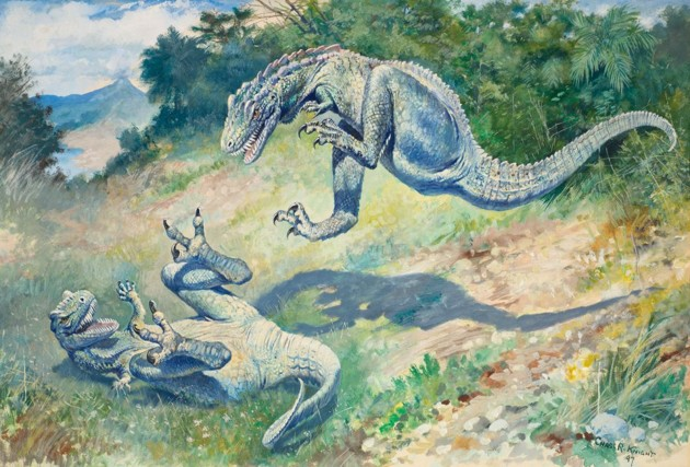 Two theropod dinosaurs with unrealistic iguana like physiology fighting