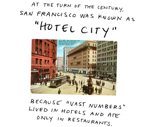 "At the turn of the century, San Francisco was known as ""Hotel City"" because ""vast numbers"" lived in hotels and ate only in restaurants."