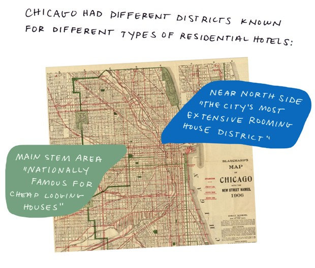 "Chicago had different districts known for different types of residential hotels: Near North Side ""the city's most extensive roominghouse district."" Main stem area ""nationally famous for cheap lodging houses."""