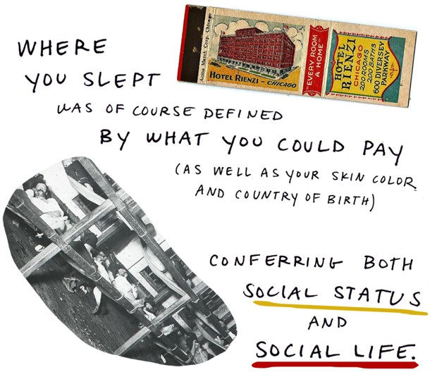 Where you lept was of course defined by what you could pay (as well as your skin color and country of birth) conferring both social status and social life.