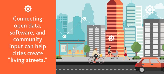 Connecting open data, software community input living streets