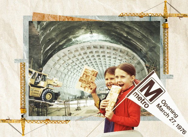 An illustration shows children and construction of the D.C. metro system.