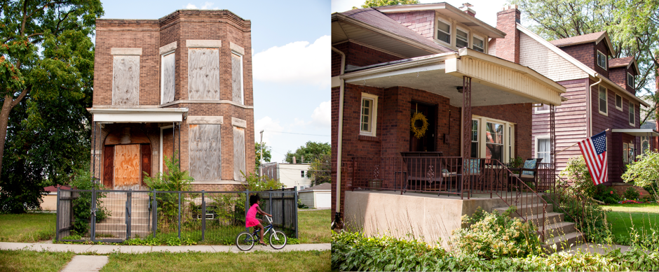 Left: A house on the South Side of Chicago. Right: That location's 'map twin' on the North Side.