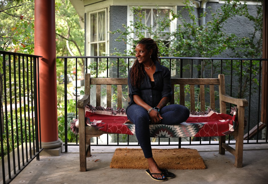 Nanette Tucker is pictured on Wade Wilson's porch in Chicago.
