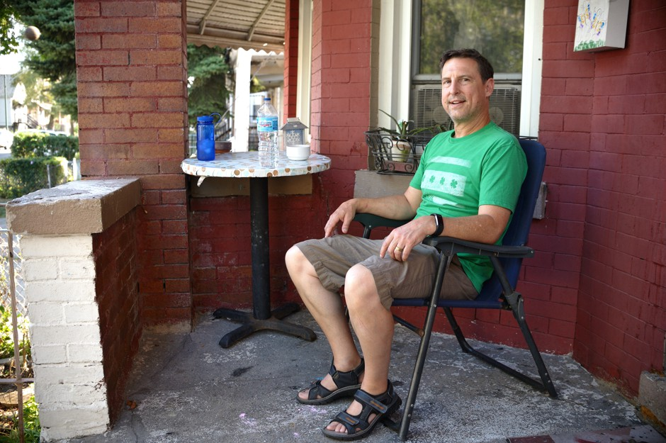Wade Wilson sits on Nanette Tucker's porch in Chicago.
